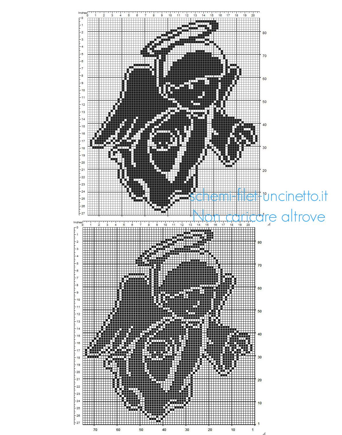 Angelo a uncinetto filet schema gratuito dimensioni 73 x 84 quadretti