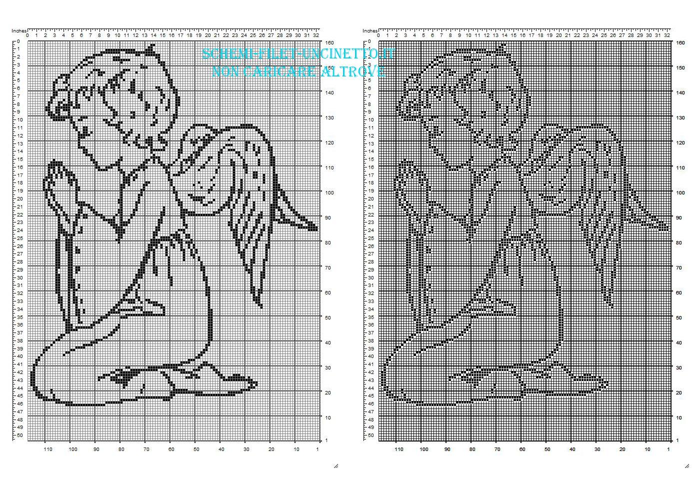 Angelo bambino con le ali che prega schema filet uncinetto da scaricare gratis