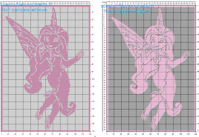 Argentea Fata Disney delle Disney Fairies schema gratis copertina bimba filet uncinetto 170 quadretti