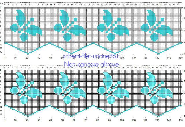Bordino filet uncinetto con farfalle azzurre schema da scaricare gratis