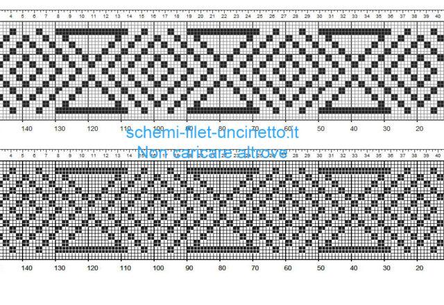 Bordino schema a uncinetto filet con forme geometriche altezza 26 quadretti