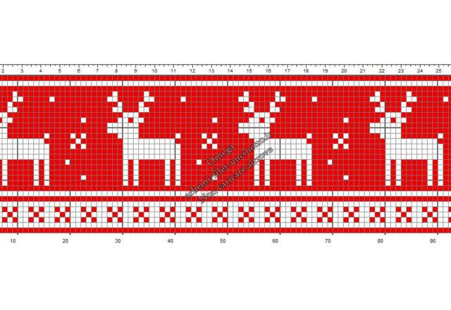 Bordo Natale con renne schema filet uncinetto gratis altezza 30