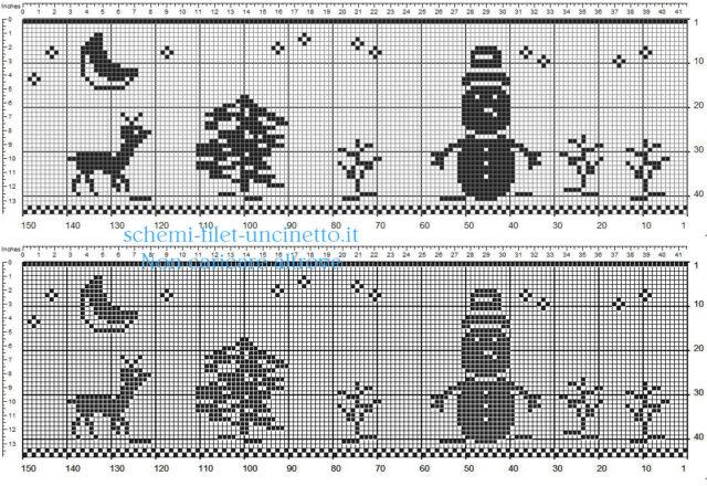 Bordo Natale uncinetto filet con renna pupazzo di neve albero 40 quadretti