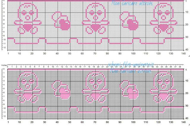 Bordo bebè filet uncinetto color rosa con bebè e ciuccio schema da scaricare gratis 35 quadretti