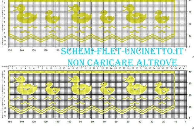 Bordo filet con paperelle schema da scaricare gratis larghezza 36 quadretti colore giallo