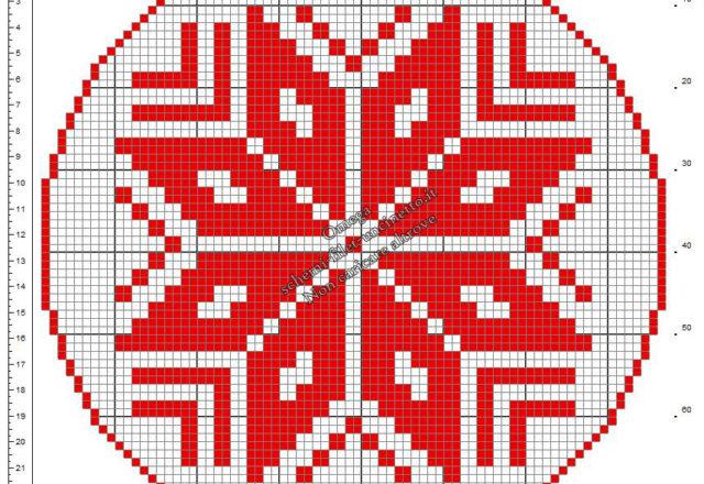 Centrino Natale con Stella di Natale schema uncinetto filet gratis 76x76