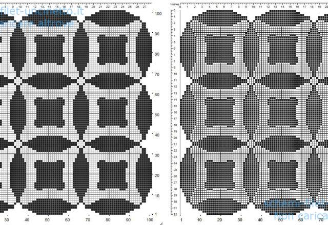 Centrino filet uncinetto gratis forma quadrata con cerchi e geometrie 101 quadretti