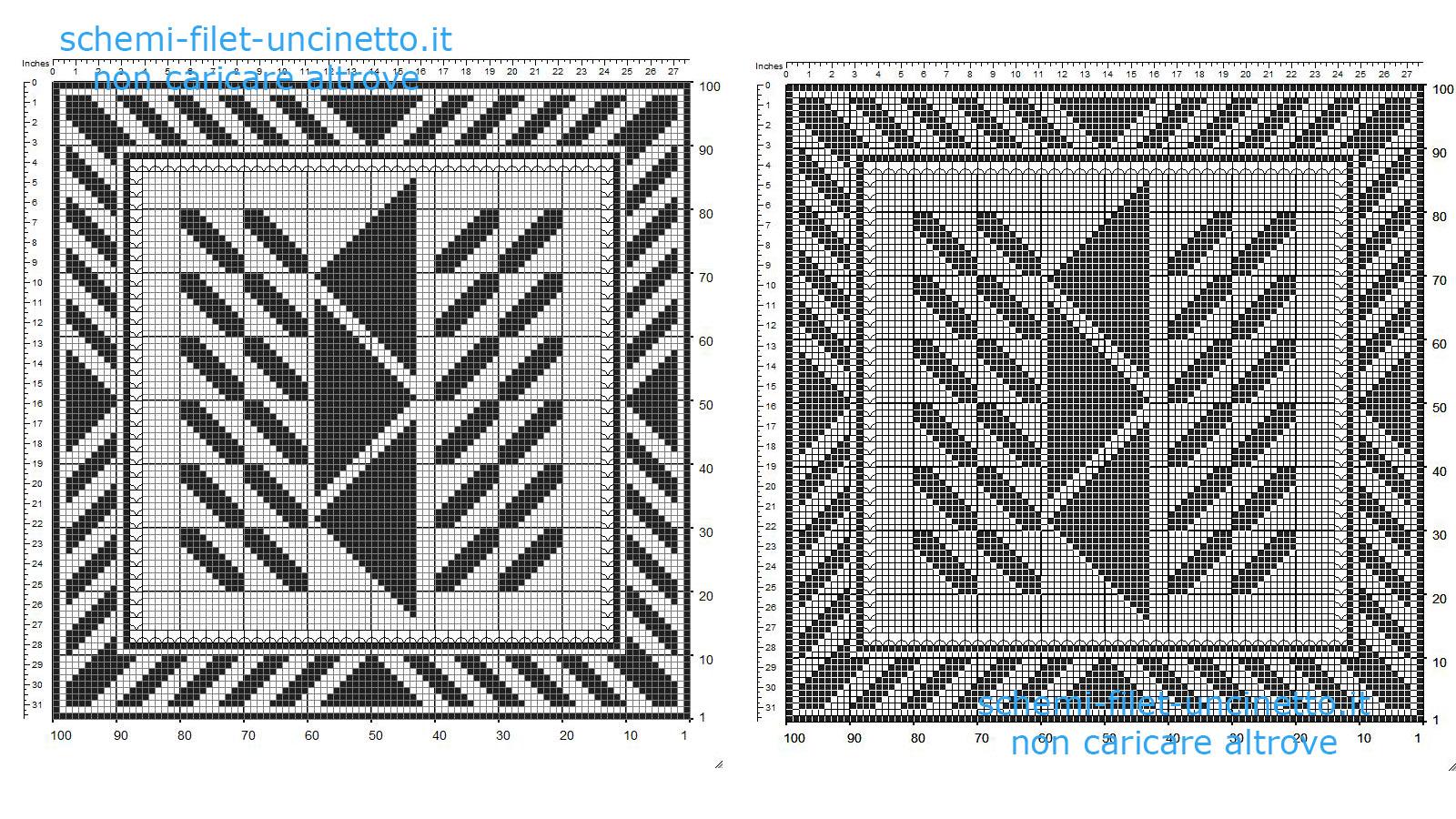 Centrino filet uncinetto gratis quadrato con geometrie