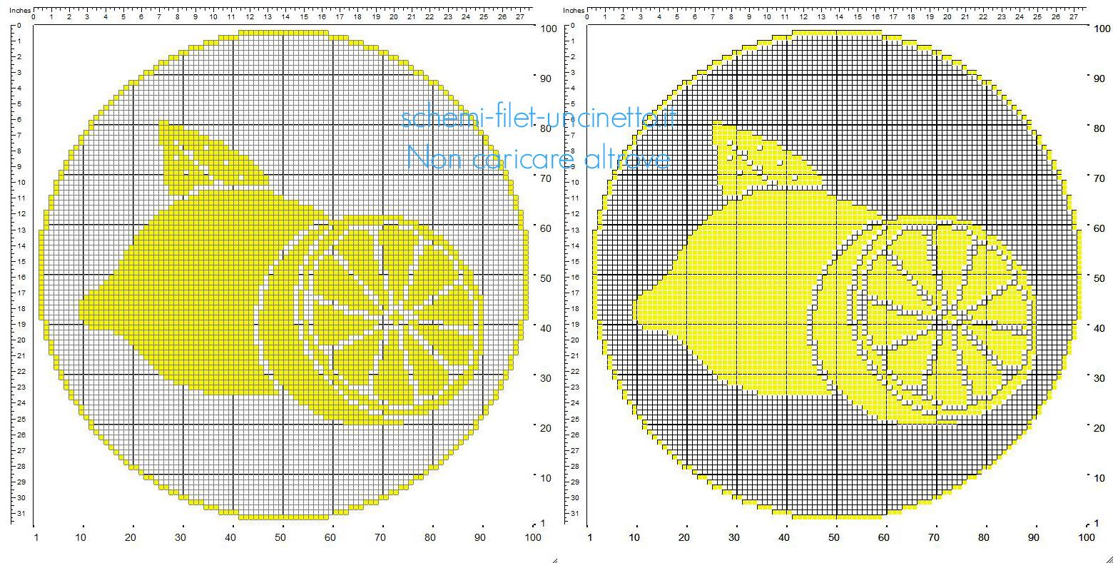 Centrino filet uncinetto rotondo con i limoni frutta schema gratuito 100 x 100