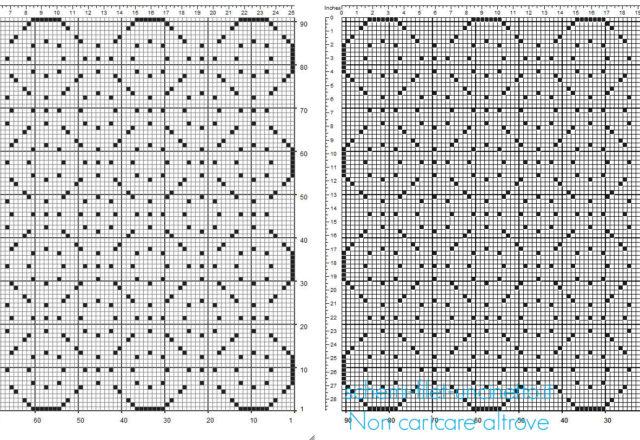 Centrino quadrato 91 x 91 schema uncinetto filet geometrico
