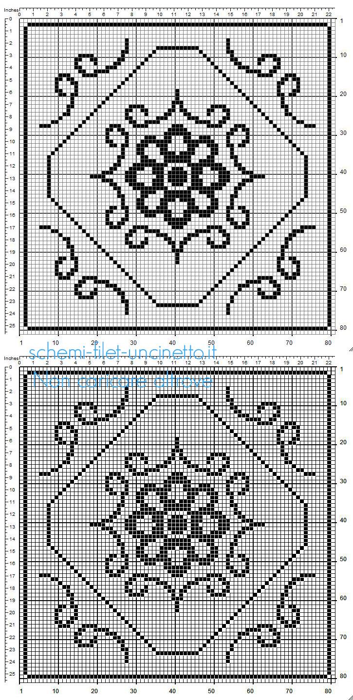 Centrino quadrato a uncinetto filet con fiore al centro misure 80 x 80 quadretti