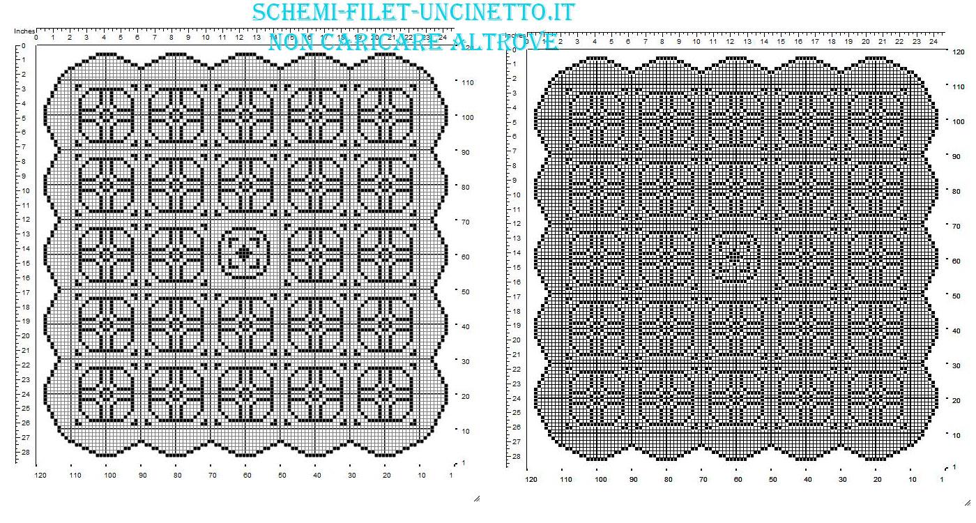 Centrino quadrato filet uncinetto con geometrie schema gratis in 120 quadretti