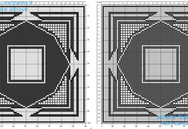 Centrino quadrato filet uncinetto gratis geometrico con triangoli 100 quadretti