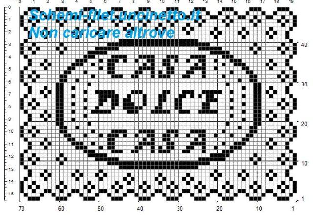 Centrino rettangolare per vassoio casa dolce casa schema filet uncinetto