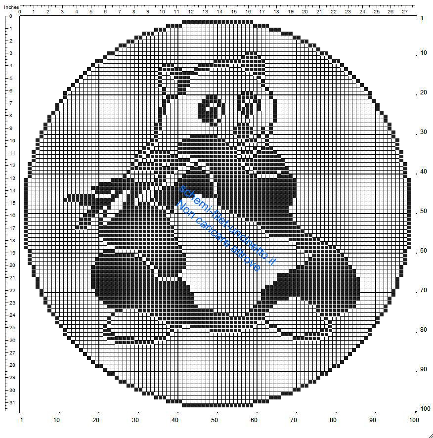 Centrino uncinetto filet rotondo con un panda 100 quadretti schema gratuito
