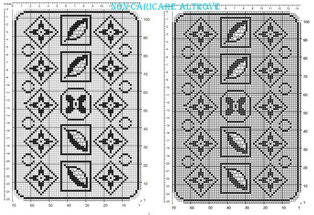 Centro filet rettangolare gratis con motivo floreale geometrico schema realizzato con programma 70 x 100 quadretti