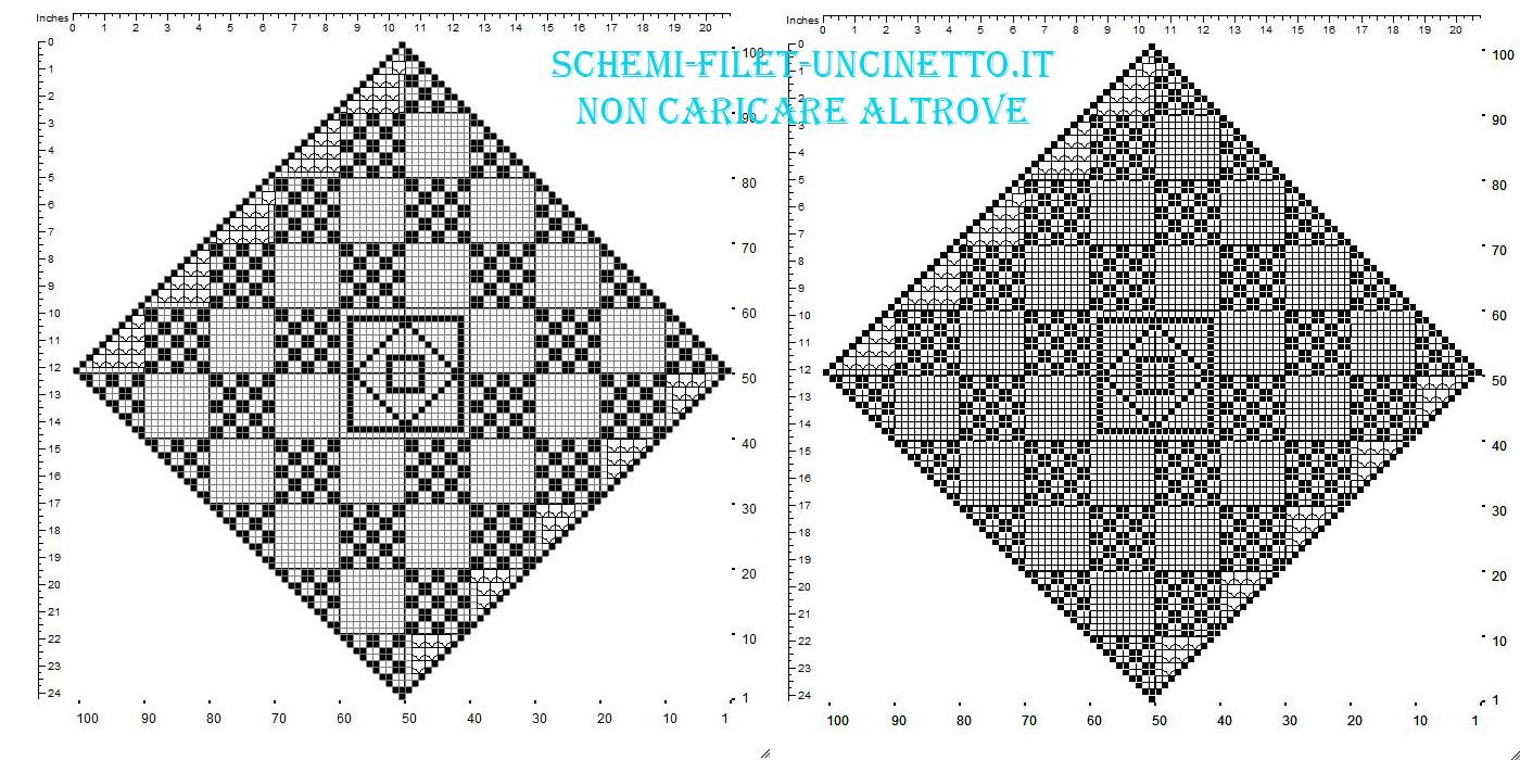 Centro filet uncinetto gratis a forma di rombo con quadrati geometrici