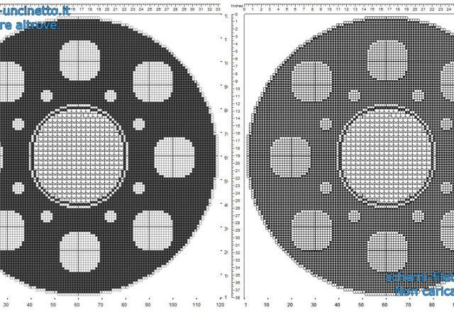 Centro filet uncinetto gratis rotondo con cerchi e motivi circolari geometrici schema gratis 120 quadretti
