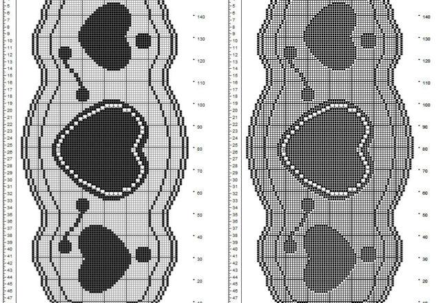 Centro ovale filet gratis con tre cuori di diversa dimensione