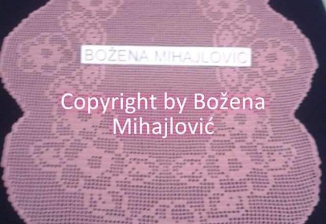 Centro ovale fiori e foglie lavoro a filet autrice Fan su Facebook Božena Mihajlović