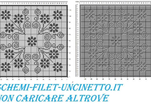 Centro quadrato fiorellini schema filet gratis