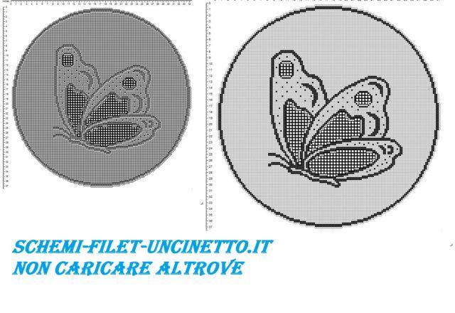 Centro rotondo con farfalla filet uncinetto schema gratis