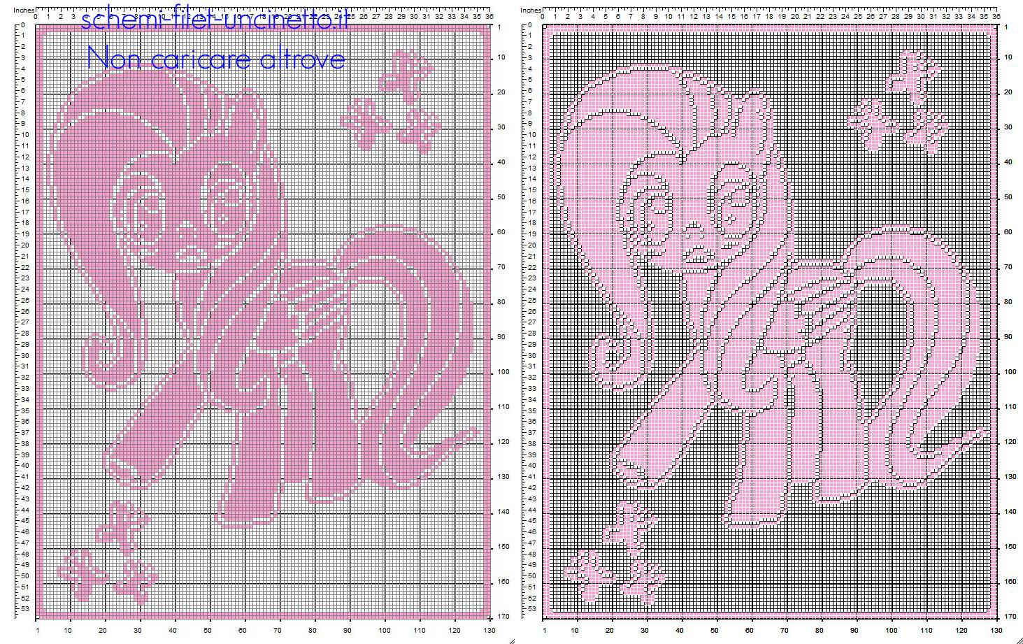 Coperta neonato filet uncinetto con farfalle e Fluttershy My Little Pony schema gratuito