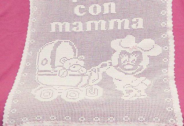 Copertina neonato uncinetto filet Minnie carrozzina Fan su Facebook Silvana Balistreri