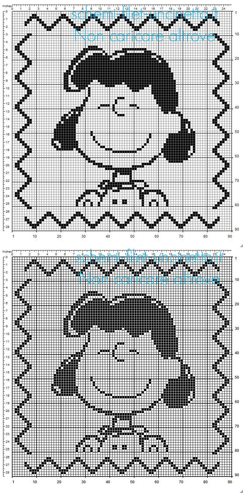 Cuscino bambini a uncinetto filet con Lucy personaggio di Charlie Brown dimensioni 90 x 90 quadretti