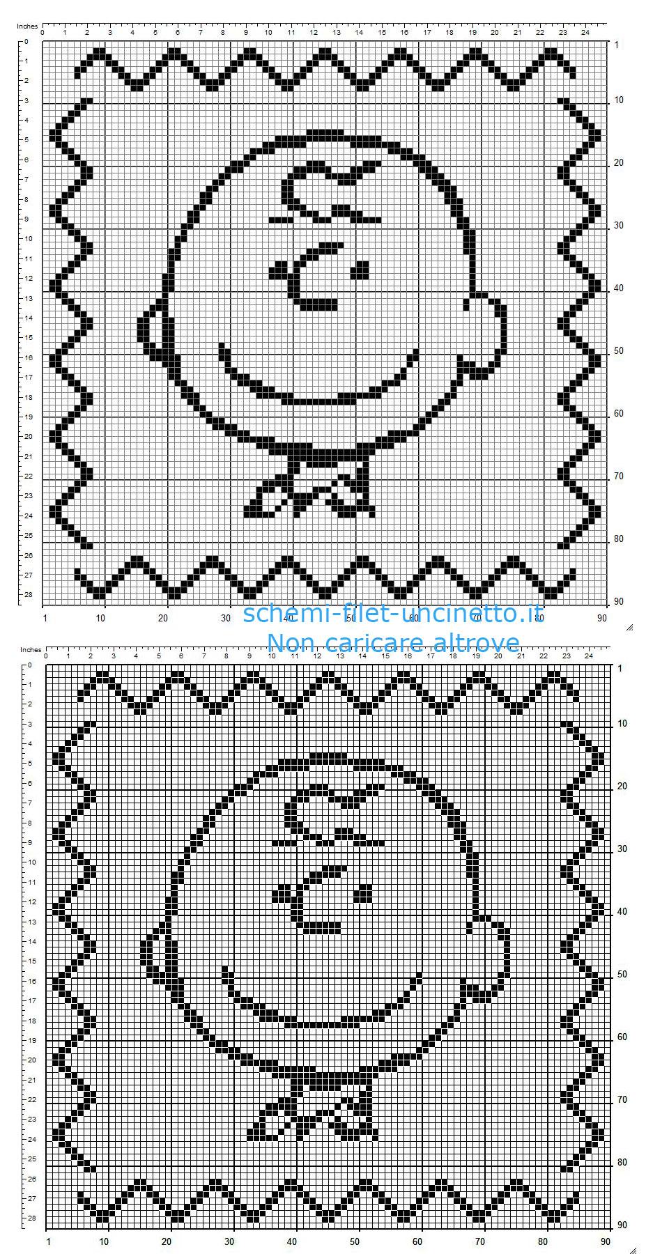 Cuscino bambino uncinetto filet con Charlie Brown schema gratis 90 x 90 quadretti