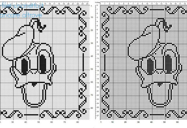 Cuscino bimbo uncinetto filet con Disney Paperino schema gratuito 90 quadretti