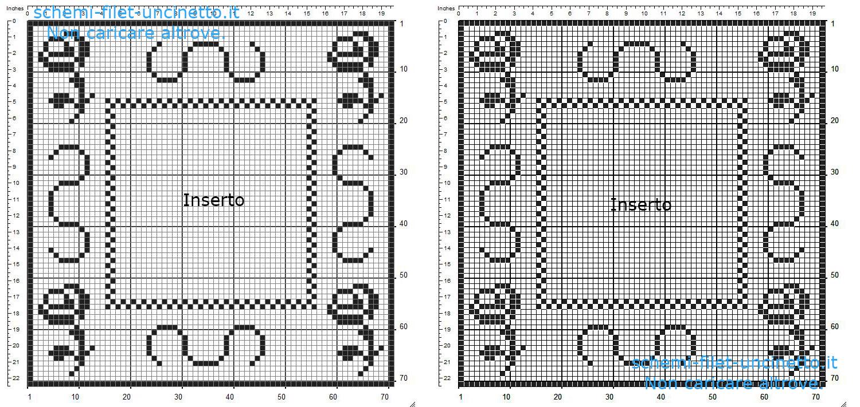 Cuscino con inserto schema filet uncinetto gratis 71 quadretti realizzato con programma