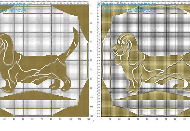 Cuscino filet uncinetto schema gratis con cane bassotto color marrone 120 quadretti
