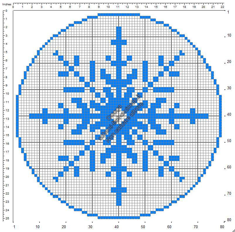 Fiocco di neve di Natale centrino rotondo schemi filet uncinetto gratuiti 78x78