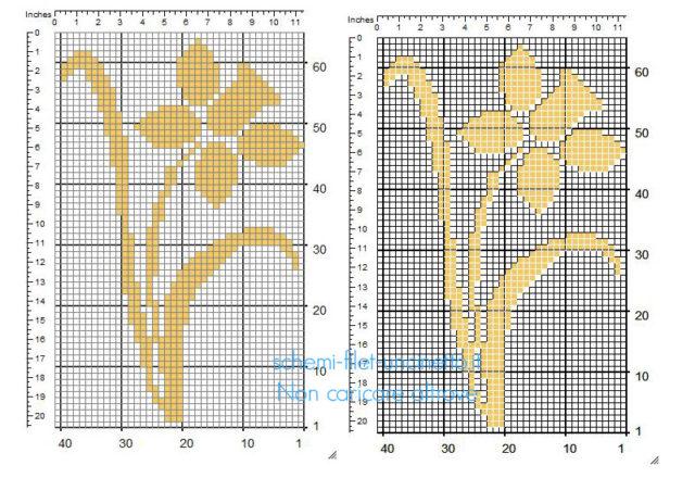 Fiore narciso color arancione schema piccolo inserto uncinetto filet