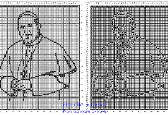 Il Papa Francesco schema gratis filet uncinetto idea quadro