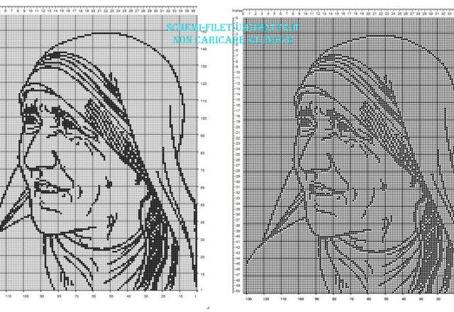 Madre Teresa di Calcutta schema filet uncinetto gratis