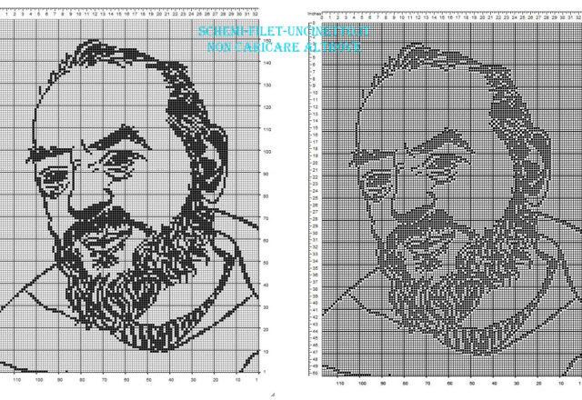 Padre Pio schema filet uncinetto gratuito 160 x 110 quadretti categoria religiosi