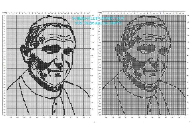 Papa Giovanni Paolo II Karol Wojtyla schema filet uncinetto gratis