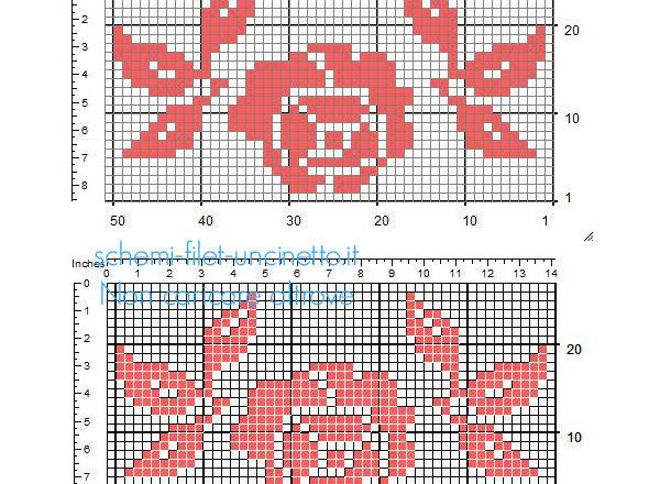 Piccolo inserto disegno a uncinetto filet rosa rossa con foglioline 49 x 25 quadretti