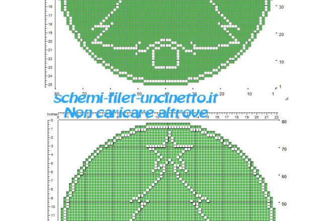Piccolo schema centrino rotondo uncinetto filet verde con albero di Natale