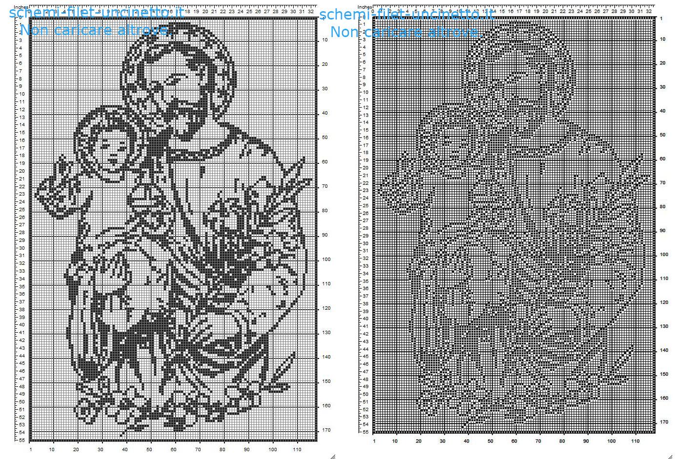 San Giuseppe schema filet uncinetto gratis idea quadro casa religioso 170 quadretti