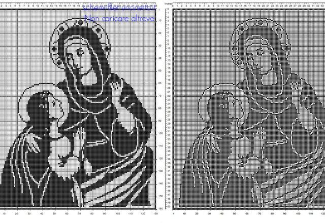 Sant' Anna con Maria schema filet uncinetto nella categoria religione