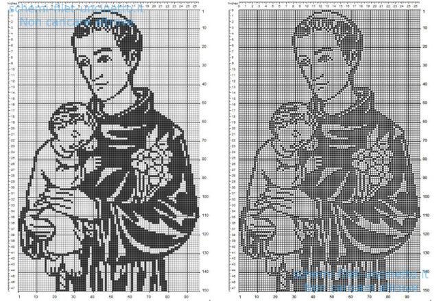 Sant' Antonio da Padova schema filet uncinetto gratis 150 quadretti