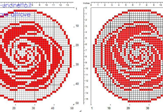 Schema centrino tondo a uncinetto filet con rosa rossa dimensioni 50 x 50 quadretti