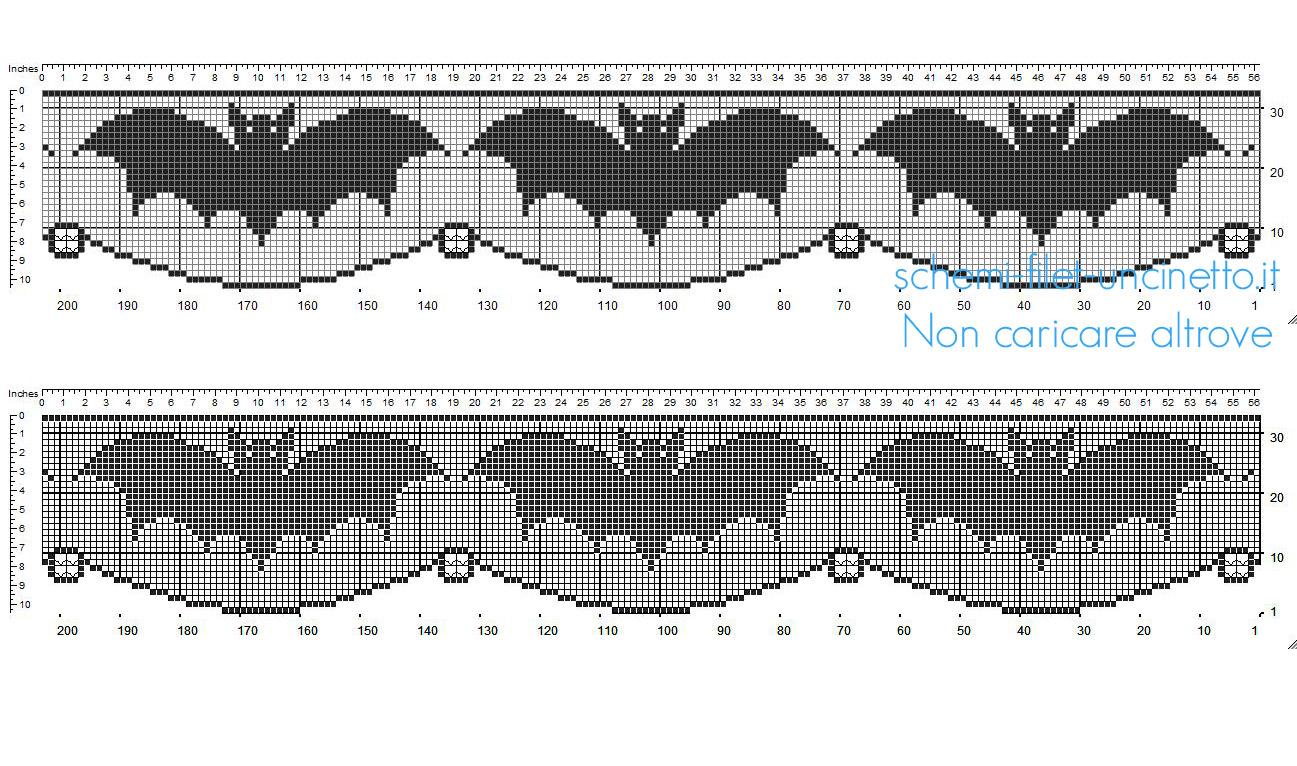 Schema filet uncinetto Halloween bordo con pipistrelli