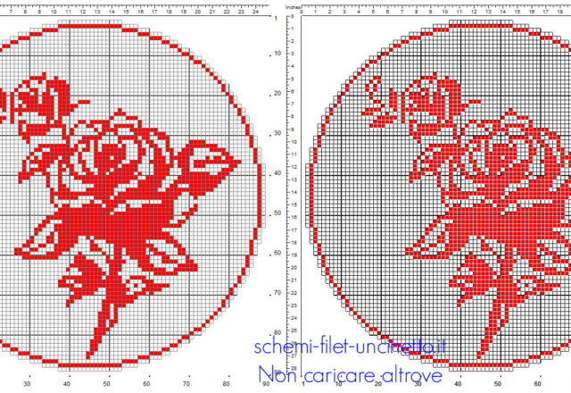 Schema filet uncinetto centro rotondo color rosso con rose in 90 quadretti
