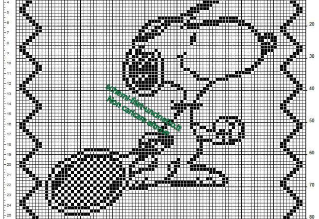 Schema filet uncinetto cuscino per bambini con Snoopy ed una racchetta da tennis