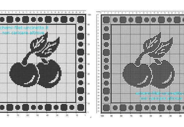 Schema filet uncinetto gratis centro centrino con frutta ciliegie in 100 quadretti