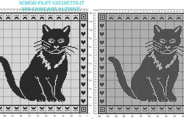 Schema filet uncinetto gratis cuscino con gatto in 120 quadretti